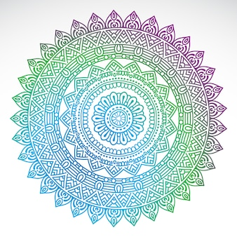 Mandala di sfumatura rotonda su sfondo bianco isolato