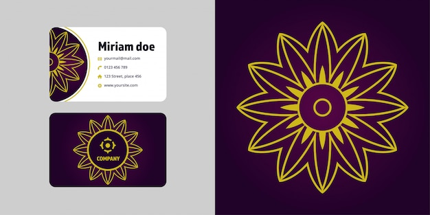 Mandala disegno e set di biglietti da visita. marchio logo monoline