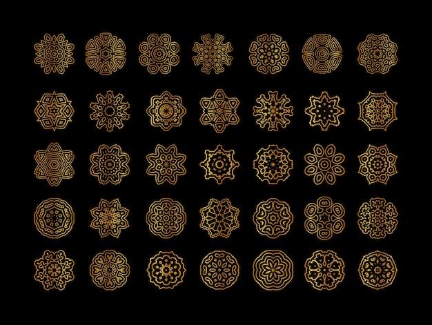 Mandala dorate geometriche