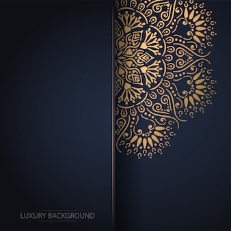 Mandala fiore d'oro su sfondo scuro