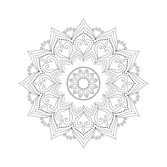 Mandala fiore disegnato a mano per libro da colorare.