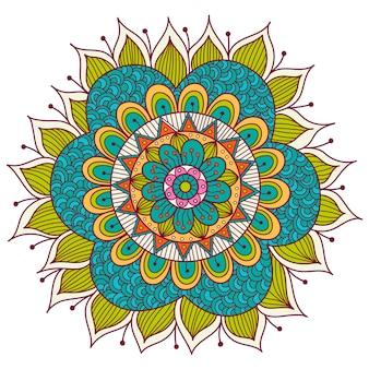 Mandala floreale colorato. elementi decorativi etnici