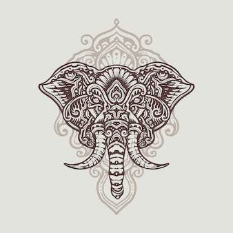 Mandala ganesha hand drawn illustration bianca nera