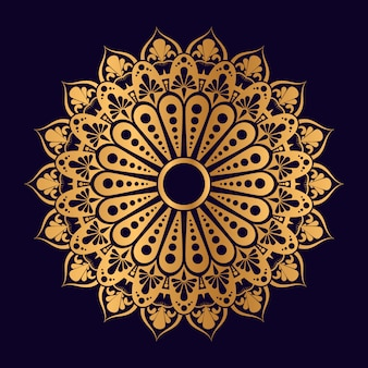 Mandala geometrica islamica in colore dorato con sfondo blu