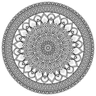 Mandala, illustrazione altamente dettagliata, motivo tribale etnico del tatuaggio, isolato su un bianco.