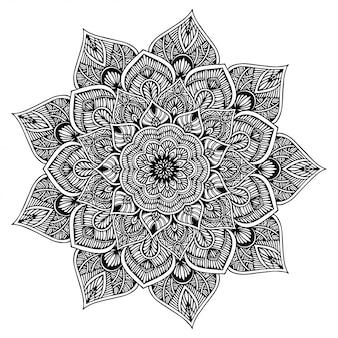 Mandala libro da colorare, forma di fiore, terapia orientale, loghi di yoga vector.