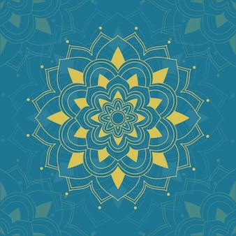 Mandala modello su sfondo blu