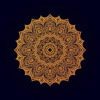 Mandala ornamentale con colore dorato