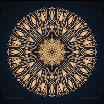 Mandala ornamentale di lusso con colore oro