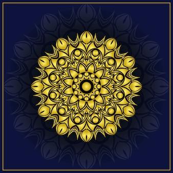 Mandala ornamentale di lusso design sfondo con colore dorato