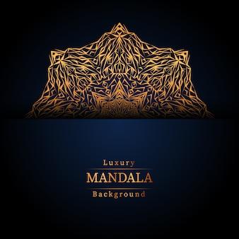 Mandala ornamentale di lusso design sfondo in colore oro, lusso mandala sfondo