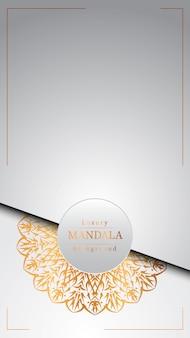 Mandala ornamentale di lusso design sfondo in colore oro,