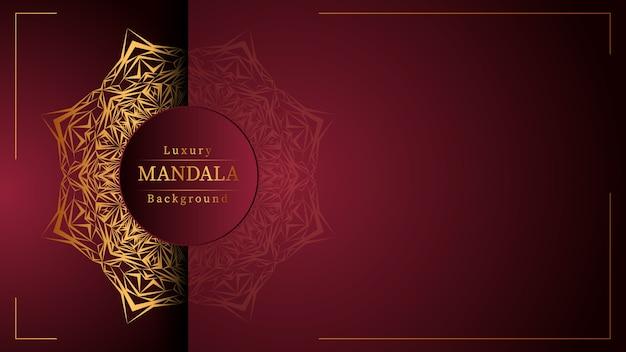 Mandala ornamentale di lusso di design in colore oro, mandala di lusso per invito a nozze, copertina del libro