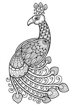Mandala per colorare disegno pavone.