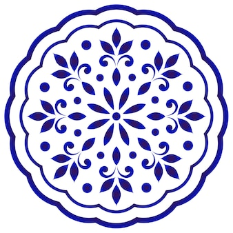 Mandala rotonda floreale blu e bianca