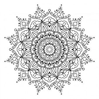 Mandala rotonda su sfondo bianco