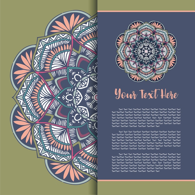 Mandala template card, greeting invitation card set vettoriale.