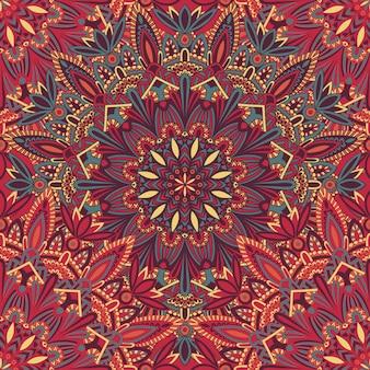 Mandala tribale senza cuciture su tessuto o carta.