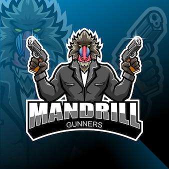 Mandrill gunner esport logo design mascotte