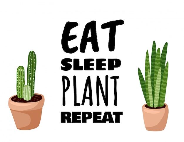 Mangia banner ripetizione pianta del sonno. cartolina di piante succulente in vaso di cactus.