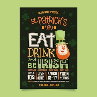 Mangia da bere e sii irlandese st. poster del giorno di patrick