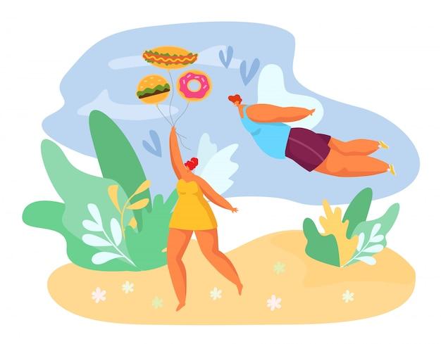Mangia deliziosi fast food, le persone grasse amano l'illustrazione. gustoso pranzo, merenda e pasto per carattere di coppia di persone. malsano