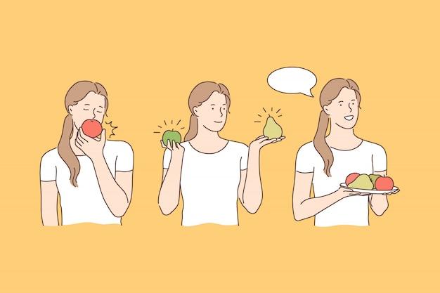 Mangiare frutta, concetto di fruttarismo
