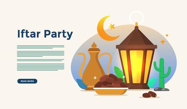 Mangiare insieme dopo il digiuno festa iftar party. cena in famiglia musulmana su ramadan kareem o eid che celebra con il concetto di personaggi per il modello di pagina di destinazione web