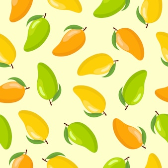 Mango fruit seamless pattern