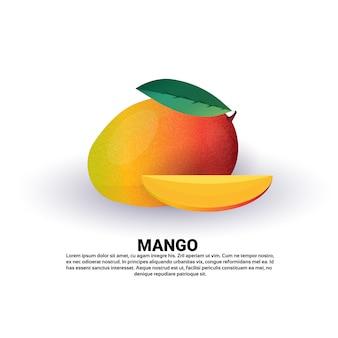 Mango su sfondo bianco, stile di vita sano o concetto di dieta, logo per frutta fresca
