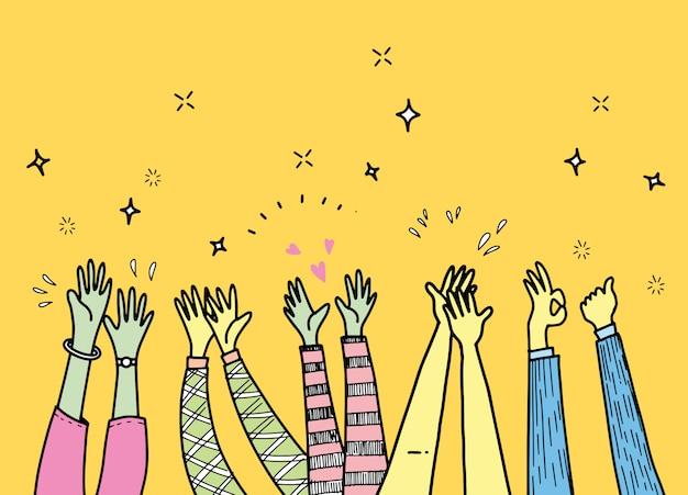 Mani che applaudono ovazione. applausi, pollice in alto gesto sull'illustrazione di stile di doodle