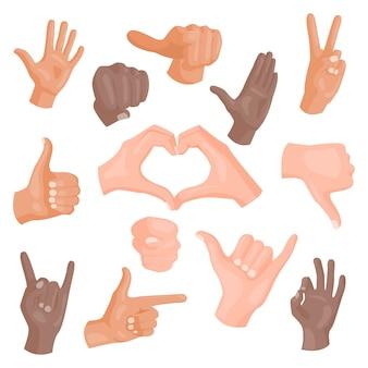Mani che mostrano i gesti differenti isolati su bianco