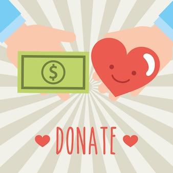 Mani che reggono banconote e cuore donano carità