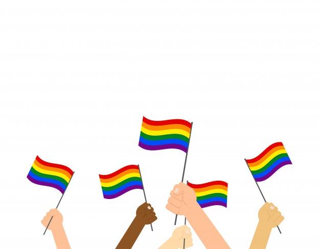 ็็ mani che reggono la bandiera dell'orgoglio lgbt