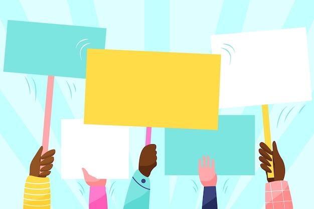 Mani che sostengono cartelli vuoti