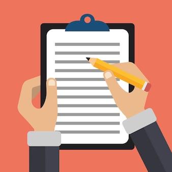 Mani che tengono documento e matita