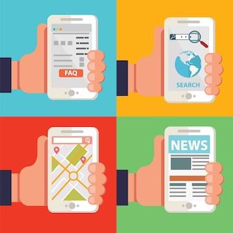 Mani che tengono gli smartphone con diverse applicazioni, notizie, domande frequenti, browser di navigazione