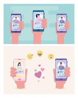 Mani che tengono gli smartphone con le donne e gli uomini in chat