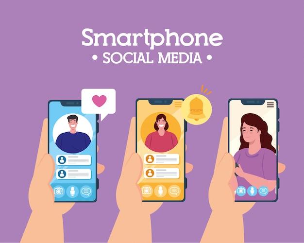 Mani che tengono gli smartphone in videochiamata, concetto di social media