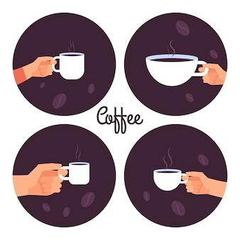 Mani che tengono l'illustrazione di vettore delle tazze di caffè