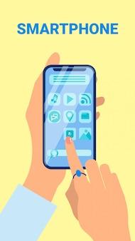 Mani che tengono l'illustrazione piana di vettore dello smartphone