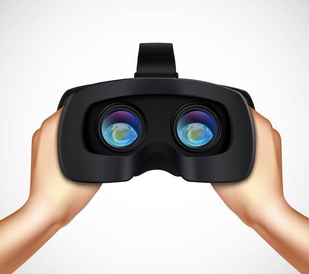 Mani che tengono la cuffia avricolare aumentata virtuale di realtà istic