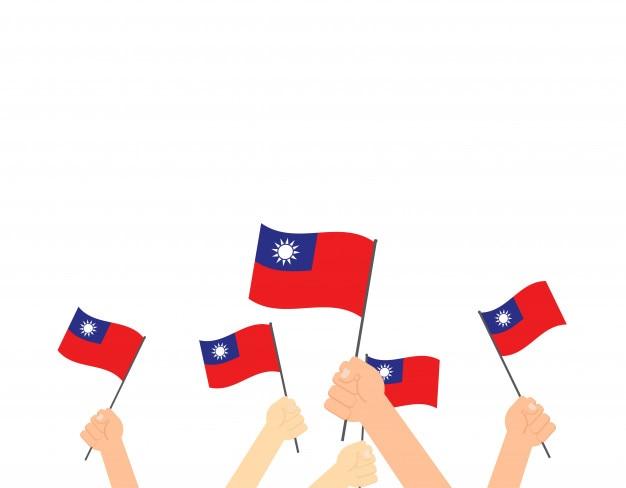 Mani che tengono le bandiere di taiwan