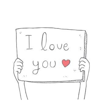 Mani che tengono scritto a mano ti amo segno