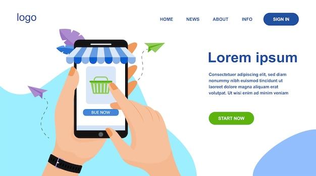 Mani che tengono smartphone e acquisto nel negozio online