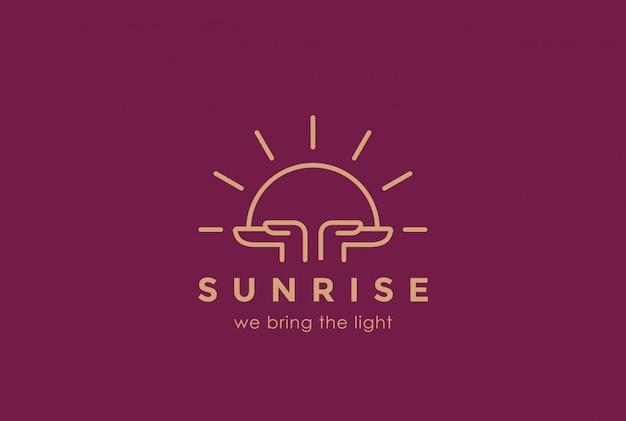 Mani che tengono stile lineare del modello di progettazione di logo in aumento del sole. la chiesa di religione del tramonto dell'alba prega il concetto del logotype. icona di concetto di fondazione.