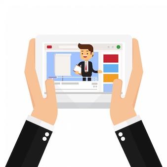 Mani che tengono tablet con uomo d'affari influencer