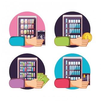 Mani che usano l'elettronica delle macchine dispenser