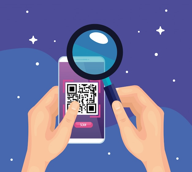 Mani che utilizzano smartphone con codice di scansione qr e lente d'ingrandimento