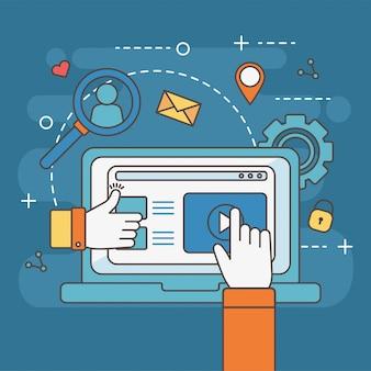 Mani come e toccanti social media della rete di contenuti del sito web di un laptop